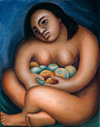 Diego Rivera Nude Woman Holding Fruit Canvas Print 16 x 20   #7711