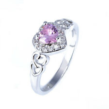 Fashion 925 Silver Pink Sapphire Heart Wedding Engagement Claddagh Ring Size 5
