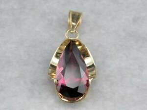 2Ct Pear Cut Red Ruby Solitaire Pendant 14K Yellow Gold Finish 18'' Free Chain.