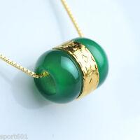 Hot Sale 24k Yellow Gold Perfect Green Jade Loose Bead / Pendant 1PCS