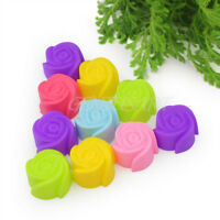 10x Silicone Rose Muffin Cookie Cup Cake Tin Baking Mold Jelly Maker Baking Moul