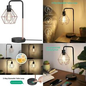 Edishine Industrial Table Lamp With 2 Usb Ports, 3-Way Dimmable Touch Control Be