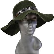 Womens Fall Winter 100% Wool Felt Wide Brim Floppy Fedora Large Brim Hat Olive