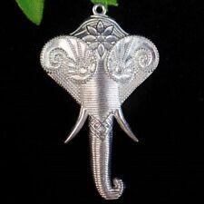 60x35x4mmCared Tibetan Silver Elephant Nose Pendant Bead W37808