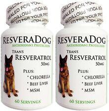 2 ~ 99% Trans Resveratrol ResveraDog DOG HEALTH ~ Joint Heart - Beef Liver, MSM
