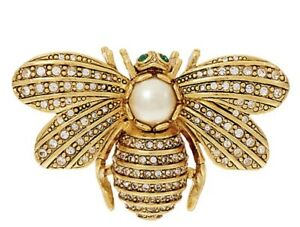 QVC Joan Rivers For ever in Our Memory Bee Pin Goldtone Faux Pearl
