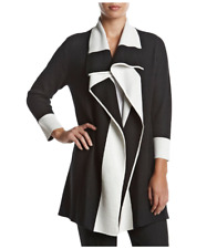 Kasper Long Cotton Black White Career Jacket Cardigan Size XL