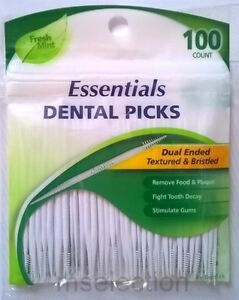 Dental Picks x100 Flexible Textured Bristled ToothPicks DenTek Essentials