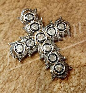 Victorian Jesus Pendant Rose Cut Polki Diamond 925 Sterling Silver Gift Pendant
