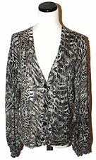 JONES NEW YORK Coll Black Cream Blurred Animal Print V-Neck Cardigan Sweater M