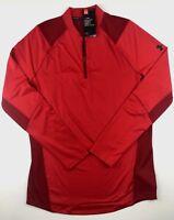 Under Armour Mens Large Red MK1 Heatgear Pullover Long Sleeve 1/4 Zip Shirt Top
