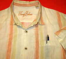 Tommy Bahama Hawaiian Linen Shirt (L) Embroidered Logo in Neck Striped w/ Pocket