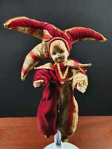 Venedig Stoffpuppe Bisquit  Venezianisch Harlekin Karneval Pierrot Clown