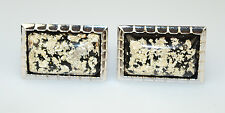 VINTAGE HICKOK STERLING SILVER CUFFLINKS WITH SILVER FLECKS ON BLACK LUCITE