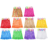SHORT HULA SKIRT 40CM WITH MULTI-COLOURED FLOWER WAISTBAND HAWAIIAN FANCY DRESS