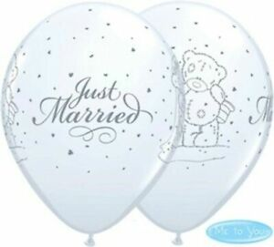25 x Qualatex Wedding Latex Balloons  - Just Married Helium Party Balloons