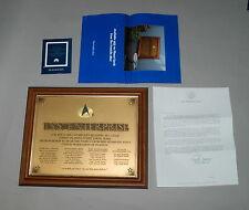 Franklin Mint Star Trek USS ENTERPRISE NCC-1701-D OFFICIAL COMMISSIONING PLAQUE