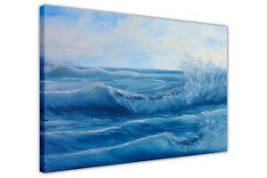 Ocean Waves Oil Painting Re-Print Framed Canvas Wall Art Prints Home Pictures