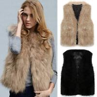 Womens Faux Fur Sleeveless Vest Waistcoat Gilet Wrap Short Jacket Coat Outerwear