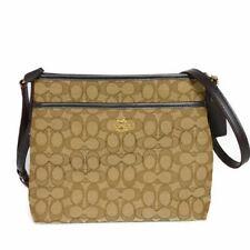 AUTHENTIC COACH File bag F29960 Shoulder Bag Cross body Signature beige un...