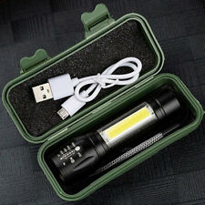Rechargeable lumens T6 COB Most powerful LED Flashlight USB Zoom Torch Waterproo