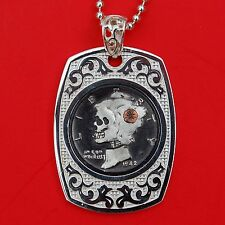 1942 Mercury Hobo Nickel Dime Skull Face Zombie Dog Tag Sterling Silver Necklace
