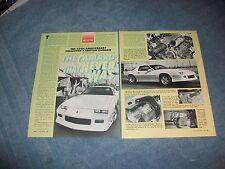 "1992 Camaro 25th Anniversary Prototype Info Article ""The Camaro that Never Was"""