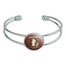 Chocolate More Satisfying Than Any Man Silver Plated Metal Cuff Bracelet