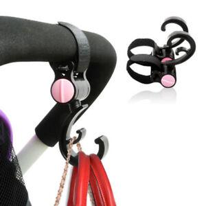 2Pcs Pram Clips Stroller Double Hook 360 Basket Strap Bag Hanger Shopping Hooks