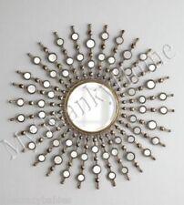 """Art Deco 39"""" Modern Silver Sunburst Starburst Wall Mirror XL Oversize HORCHOW"""