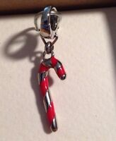 Fossil Brand Candy Cane Stainless Silver Tone Red Enamel Bracelet Charm New