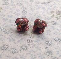 easter bunny rabbit stud earrings Handmade Brown Super Cute Gift
