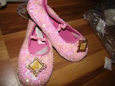 NWT DISNEY SLEEPING BEAUTY AURORA DELUXE SEQUIN COSTUME SHOES GIRLS SIZE 13/1
