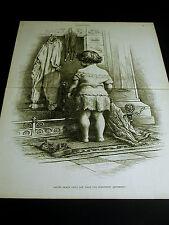 Thomas Nast Christmas Engraving WAITING for SANTA CLAUS 1886 Large Folio Print