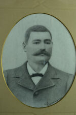Beau tableau dessin art nouveau portrait homme Barbier Moustache mode Hipster