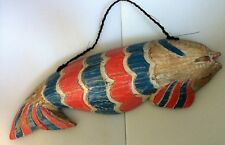 Large Wall Hanging Handmade Carved Wooden Fish Ornament