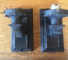 Antique decorative set of 2 cast iron wall sconces