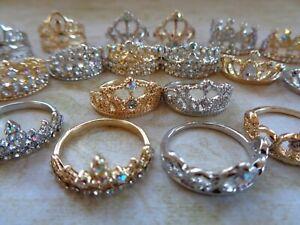 1x Doll/Dolls House Miniature: Gold Silver Diamond CROWN / TIARA Princess Queen
