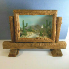 Rare Vtg Early 50's Desert Scene In Relief Diorama-free stand Wood Frame-Cactus