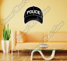 "Black Police Baseball Cap Hat Gift Idea Wall Sticker Room Interior Decor 22""X22"""