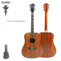 Top Quality Zuwei 41in Acoustic Guitar Full Koa Top Real Abalone Inlay Handmade