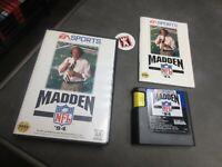 Madden NFL '94 (Sega Genesis, 1993)  Complete in box  with pog