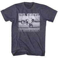 Evel Knievel All American Daredevil Men's T Shirt Wheelie Stunt Motorcycle Rider