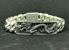 "8"" 80g HEAVY CUBAN CURB CHAIN LINK DRAGON ID STERLING SILVER 925 MENS BRACELET"