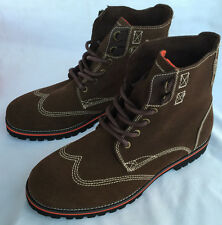 new Nautica NM290D Brown Leather Bulkhead Boots Shoes Hiking Fashion Men's