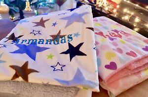 LUXURY BABY SHERPA BLANKET PERSONALISED MINKY EMBROIDERY NAME NEWBORN GIFT