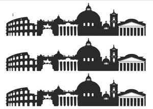 Rome Skyline Cake Topper Silhouettes  A4 Edible Printed Iced Sheet