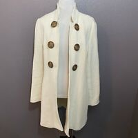 Soft Surroundings Size S White Open Jacket Large Decorative Buttons Cotton Blend