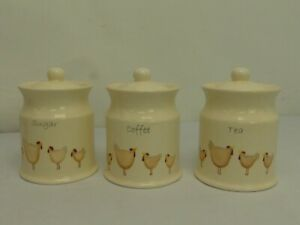(ref288CF) Home Storage Jars Tea Sugar Coffee Canisters With Hens Chickens
