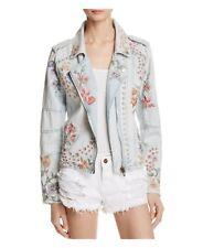 "BlankNyC  ""Sitting Pretty Denim  embroidered floral Moto Denim jacket Small NEW"
